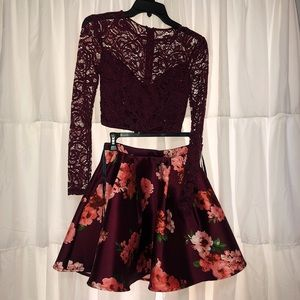 Burgundy two piece homecoming dress